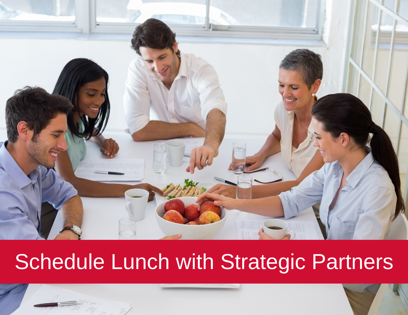 schedule lunch with strategic partners - people eating